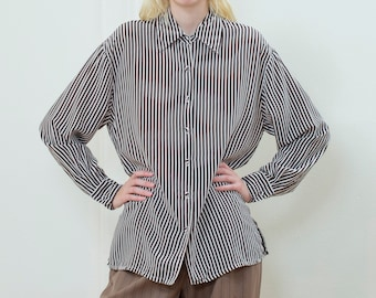 d24f5eac0 90s brown striped silk blouse large | silk button down shirt | minimal  oversized striped shirt | silk collared minimalist blouse