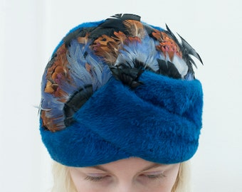bf0724f7 60s christian dior blue fur turban hat with feathers | mod bohemian flapper  feather hat | bright blue dior chapeaux evening hat headdress