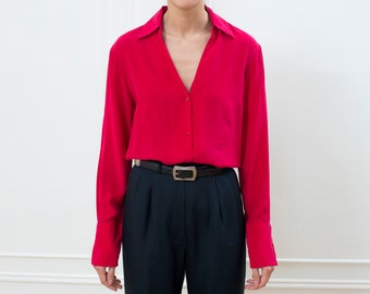 bd33df88 90s red silk blouse large | bright red silk button down shirt | minimalist silk  blouse | minimal silk shirt | cherry red long sleeve blouse