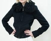 90s ann demeulemeester black fur collar jacket xs small zip up cropped astrakhan fur collar wool jacket minimalist jacket minimal coat
