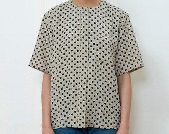 914d4507e 80s tan polka dot blouse large   dot print silky blouse   dotted button  down short sleeve shirt   anne klein blouse   power suit blouse