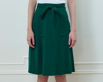 dcbaf7dde green wrap skirt medium | 70s wool midi skirt | minimalist skirt | green  wool skirt | wool wrap skirt