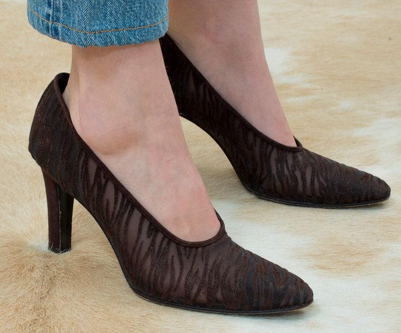 c4af3816616 Ysl brown high heel pumps 9.5 70s yves saint laurent pointy | Etsy