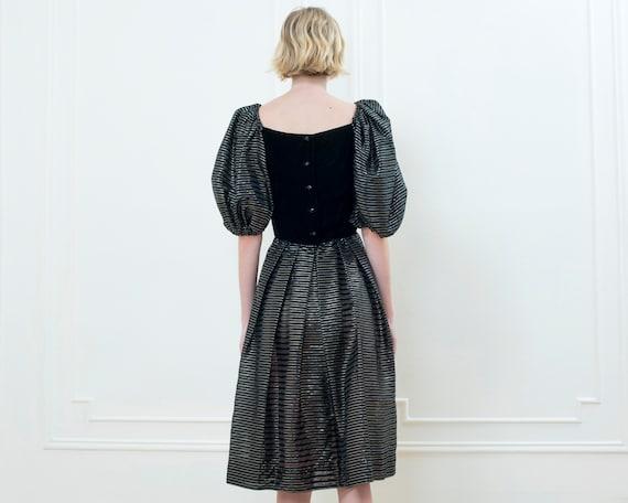 80s black party dress | striped metallic puff sle… - image 4