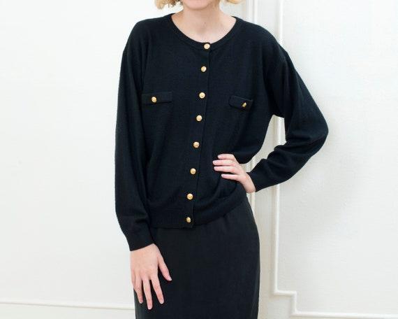 80s black cardigan   gold button minimalist oversi