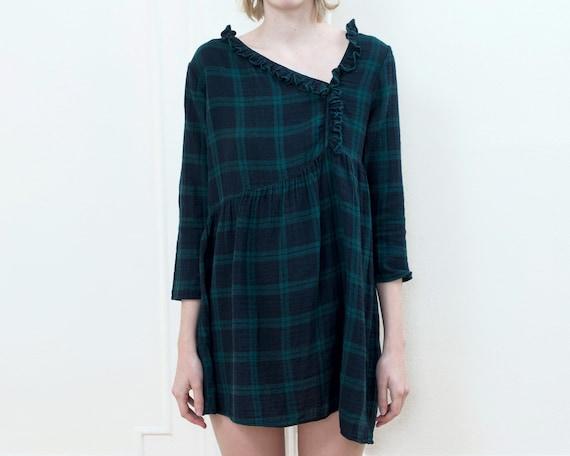 90s plaid ruffle baby doll dress | navy green plai