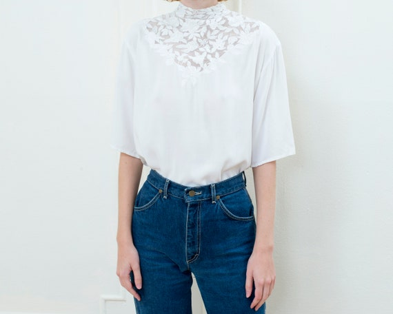 80s white lace high neck blouse | lace collar vict