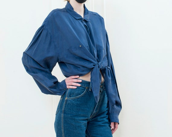 90s perry ellis blue silk blouse xl | oversized b… - image 3