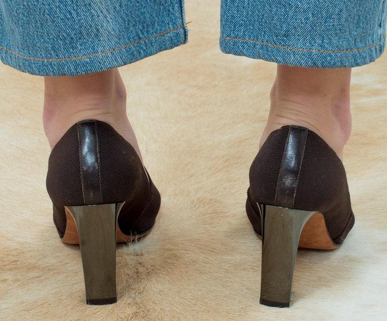 e9e953fb6e98a brown elastic pumps 7 37 | 80s jean-michel cazabat brown pump | elastic  high heels | minimalist heels | d'orsay minimal pumps
