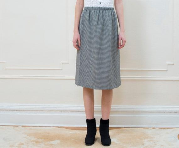 70s black check midi skirt