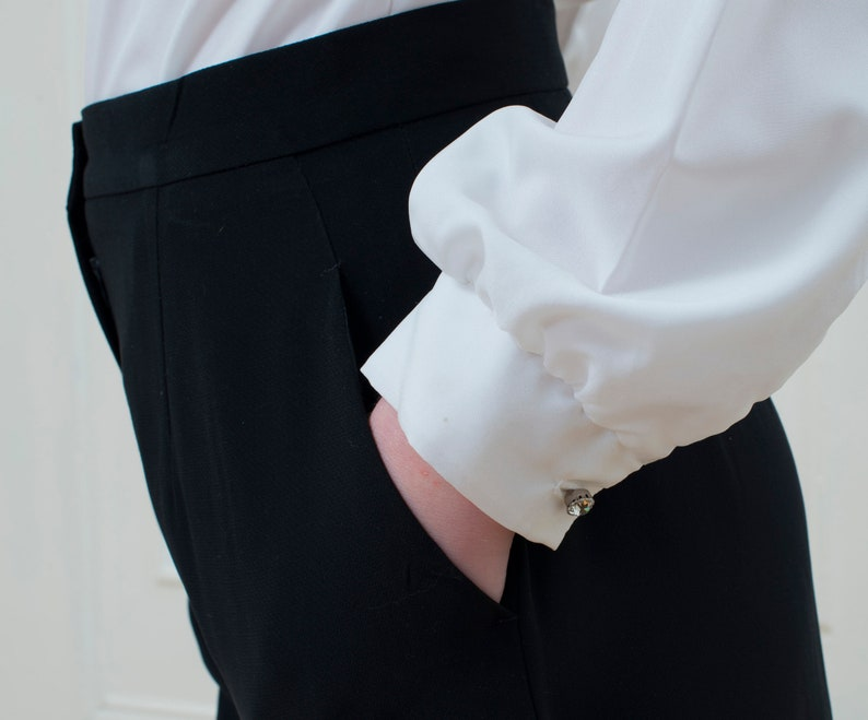 White silky blouse large 80s minimal puff sleeve blouse etsy