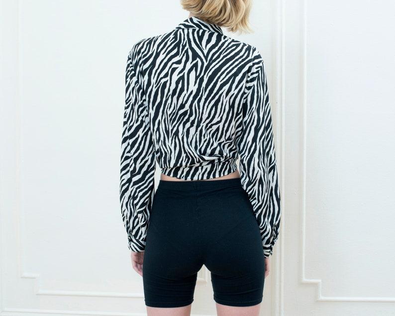 80s zebra print blouse xl silky printed blouse black white oversized button down shirt animal print collared shirt boxy blouse