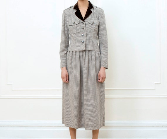 70s brown skirt suit