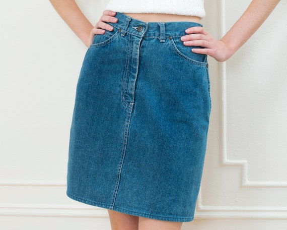 70s denim pencil skirt xs | 25 waist medium wash j