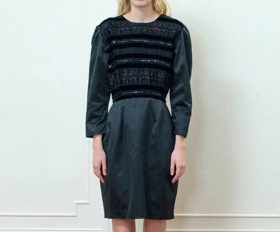 80s black beaded mini dress | little black dress |