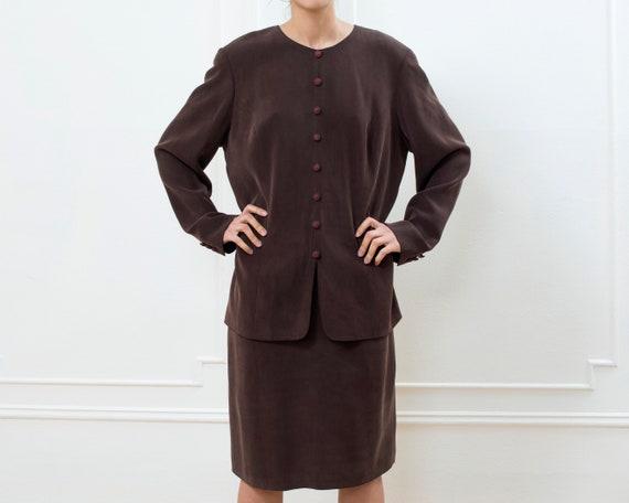 90s brown silk midi dress large   dark brown silk
