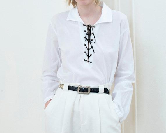 90s white lace up blouse medium | minimalist leath