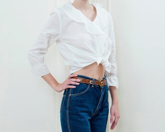 90s ralph lauren white ruffle collar cotton blous… - image 3
