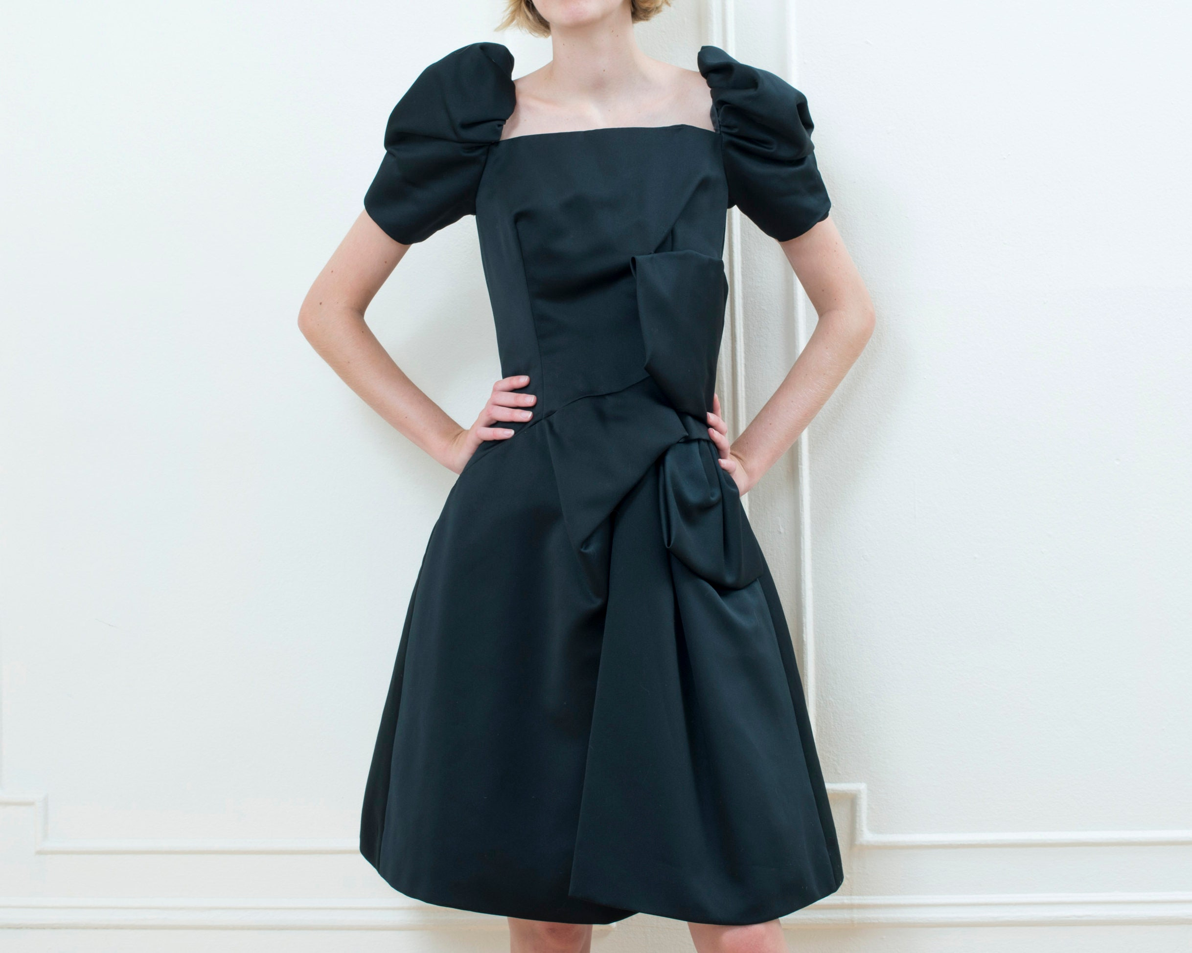 80s Dresses | Casual to Party Dresses 80S Black Victor Costa Dress  Satin Party Minimalist Puff Sleeve Bow Tie Waist Square Neck Midi Cocktail Minimal Prom $25.00 AT vintagedancer.com