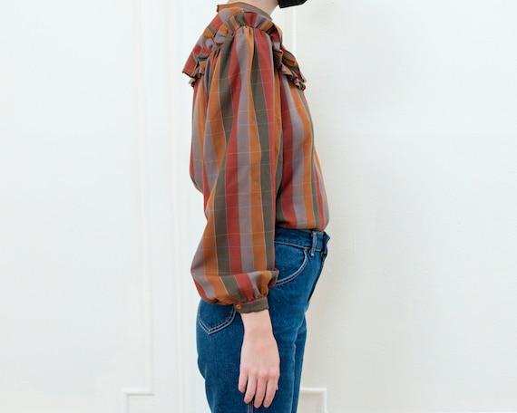 brown striped ballon sleeve blouse   70s ruffle c… - image 4