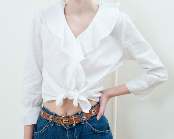 90s ralph lauren white ruffle collar cotton blouse