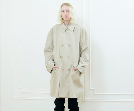 90s beige trench coat large | khaki trenchcoat | m