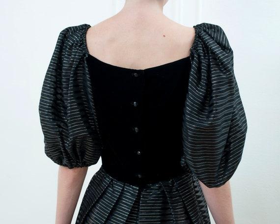 80s black party dress | striped metallic puff sle… - image 5