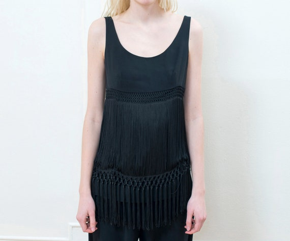 90s moschino black fringe blouse | flapper evening