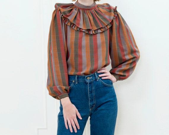 brown striped ballon sleeve blouse   70s ruffle c… - image 1