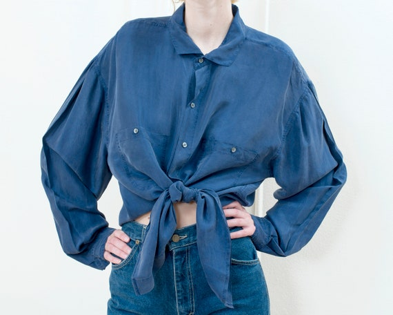 90s perry ellis blue silk blouse xl | oversized bl