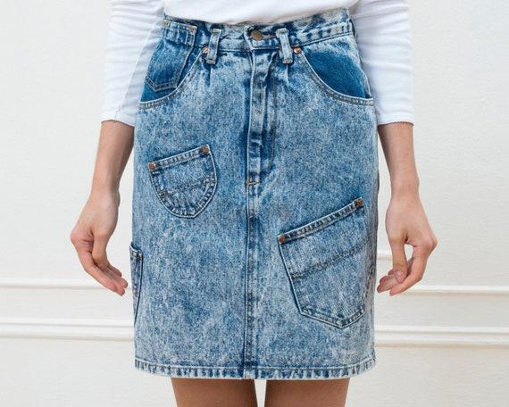 80s acid wash denim mini skirt   25 waist xs patch