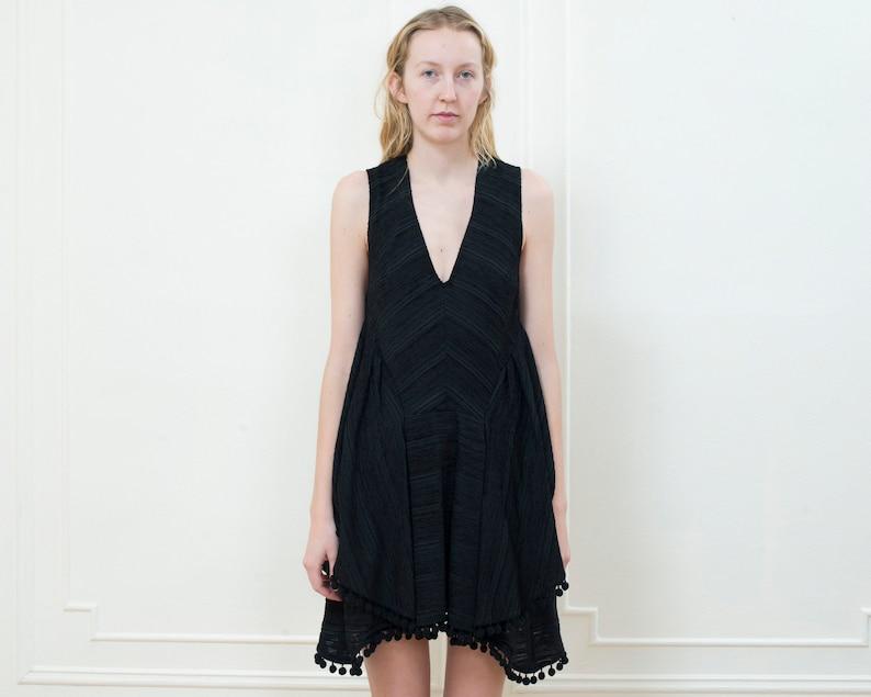 349c9020b4a 90s little black dress small black pom pom party dress