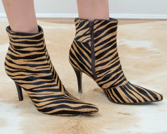 90s brown zebra calf hair boots 8.5 | stiletto pon