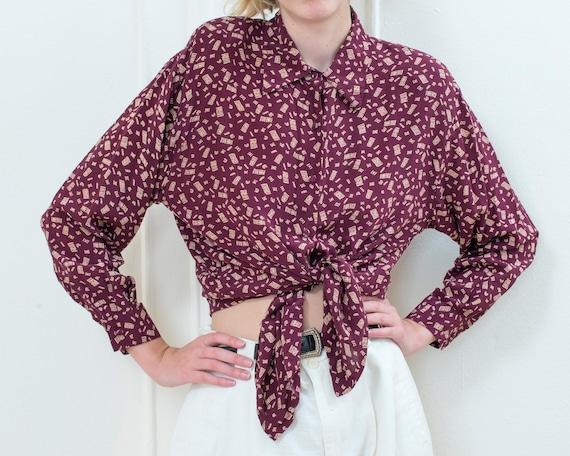 80s burgundy silk printed blouse medium | dark red