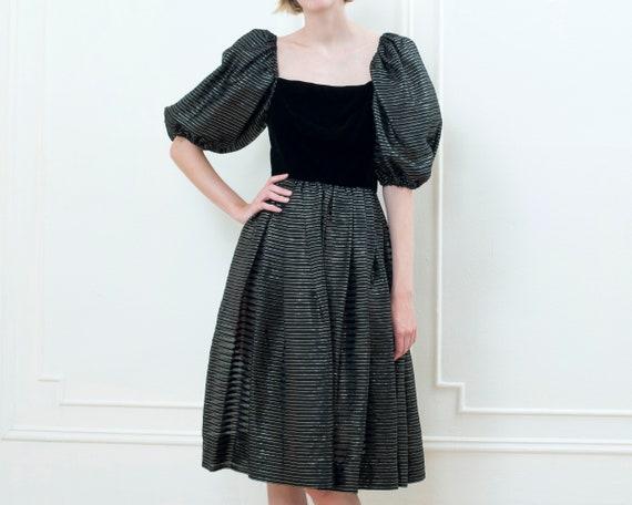 80s black party dress | striped metallic puff sle… - image 3