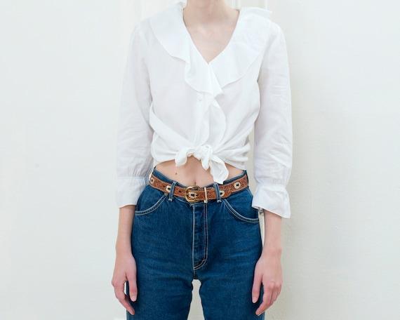 90s ralph lauren white ruffle collar cotton blous… - image 2