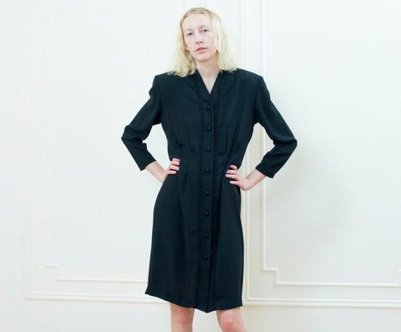 80s little black dress large | chaus black pleated