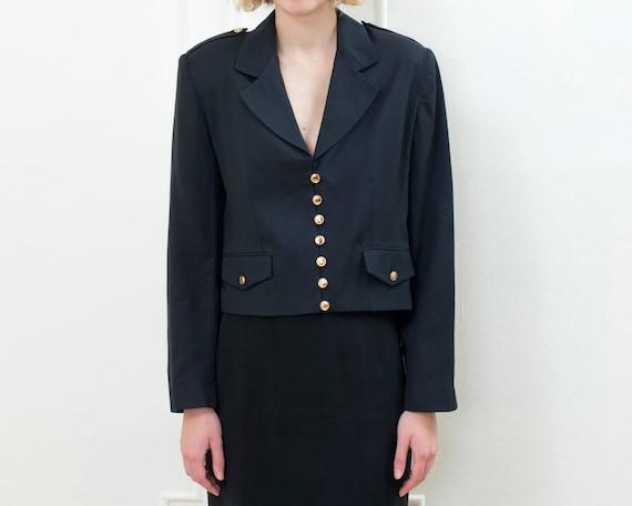 90s black cropped blazer   military cropped jacket