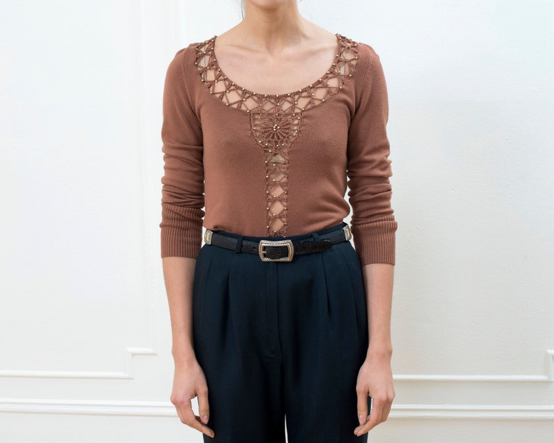 beaded minimalist deep v scoop neck sweater 90s xs brown crochet cut out sweater see through knit embellished crochet knit fitted top