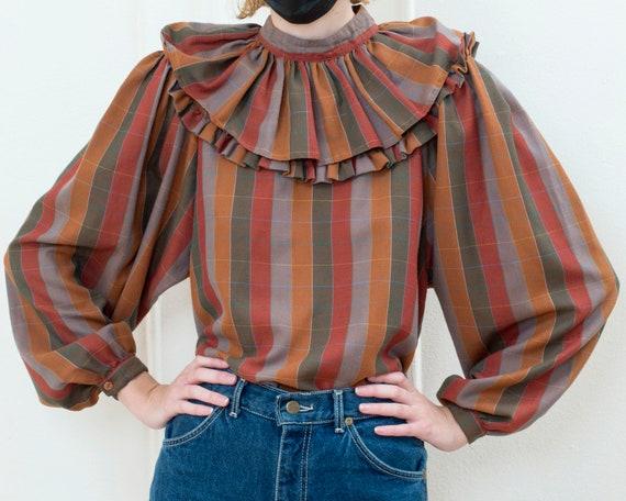 brown striped ballon sleeve blouse   70s ruffle c… - image 6
