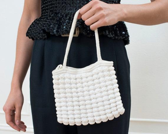 70s white crochet mini purse | white cotton knit m