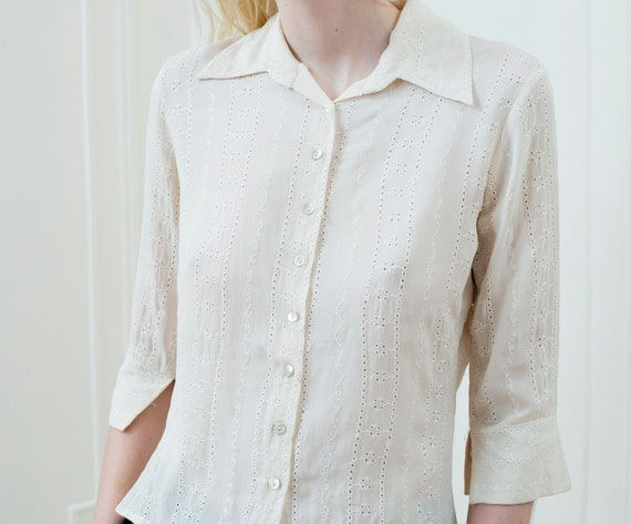 90s Cream Eyelet Silk Blouse Small White Sheer Lace Button Etsy
