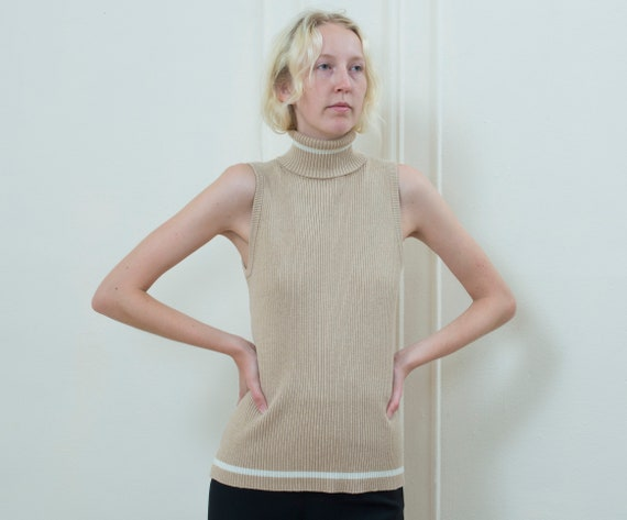 beige sleeveless turtleneck sweater large | 90s mi