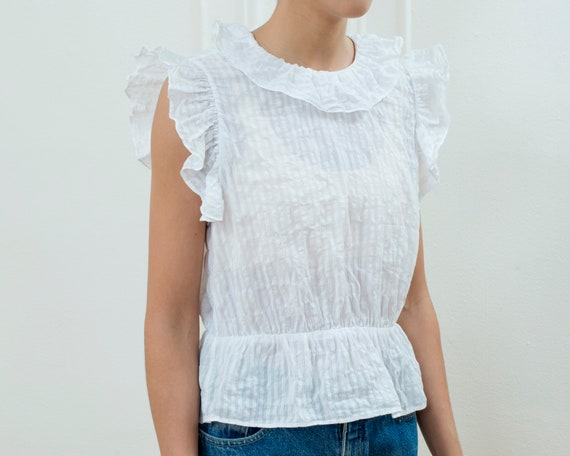 90s white cotton ruffle blouse small | sheer stri… - image 4