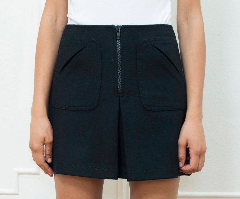 2c18e1abd3 Black wool mini skirt small 90s gap mod miniskirt high | Etsy