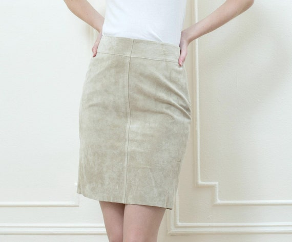 tan suede mini skirt small xs | 90s light beige su