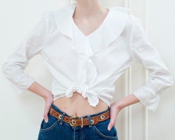90s ralph lauren white ruffle collar cotton blous… - image 6
