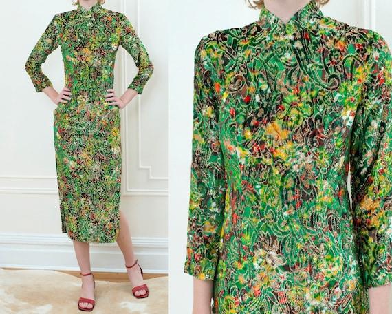70s green metallic cheongsam dress | printed chine