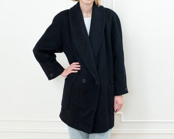 80s black wool coat medium | shawl collar double b