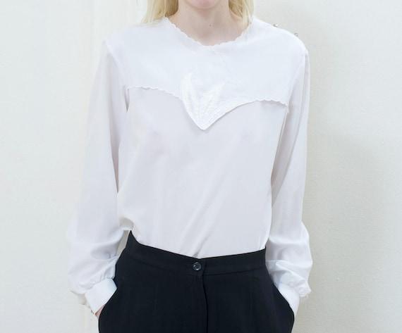 80s white puff sleeve blouse large | minimal secre